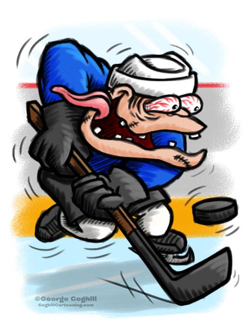 Hockey Player Hot Rod Cartoon Character Sketch