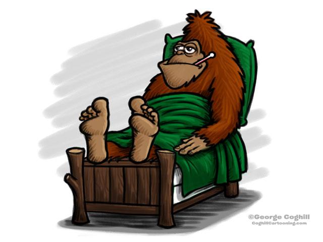 Sick Sasquatch Cartoon Character Sketch