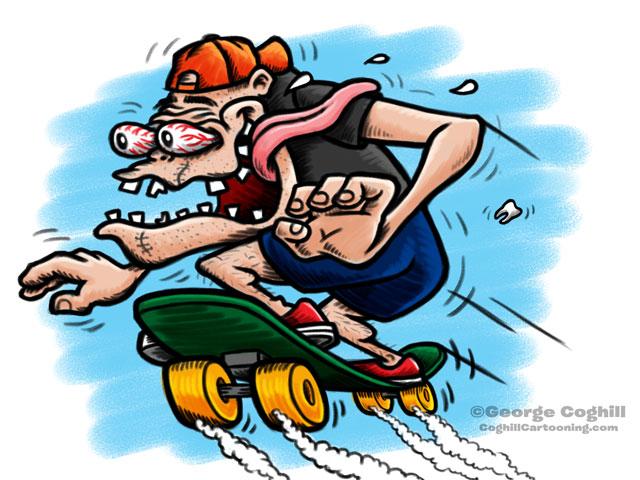 Skater Hot Rod Cartoon Character Sketch
