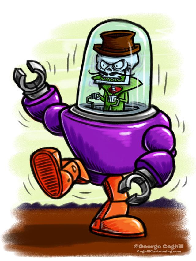Evil Skeleton Robot Pilot Cartoon Character Sketch