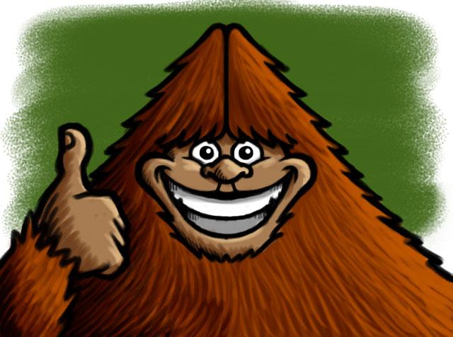 Thumbs Up Bigfoot Cartoon Character Sketch