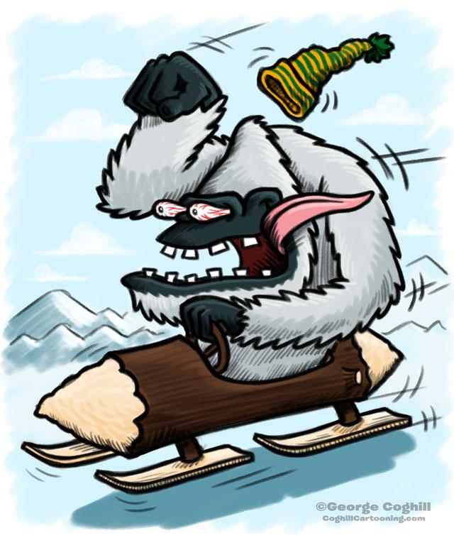 Yeti Bobsled Hot Rod Cartoon Sketch