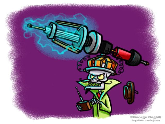 Evil Skeleton Death Ray Helmet Cartoon Character Sketch
