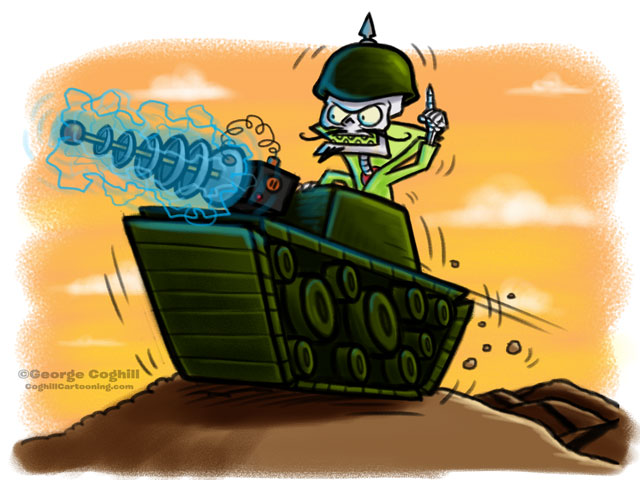 Evil Skeleton Skeletank with Laser Cannon Cartoon Character Sketch