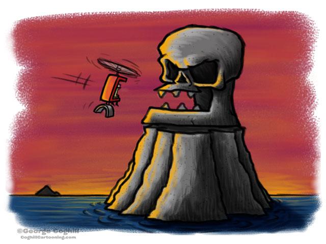 Evil Skeleton Skull Fortress Cartoon Character Sketch