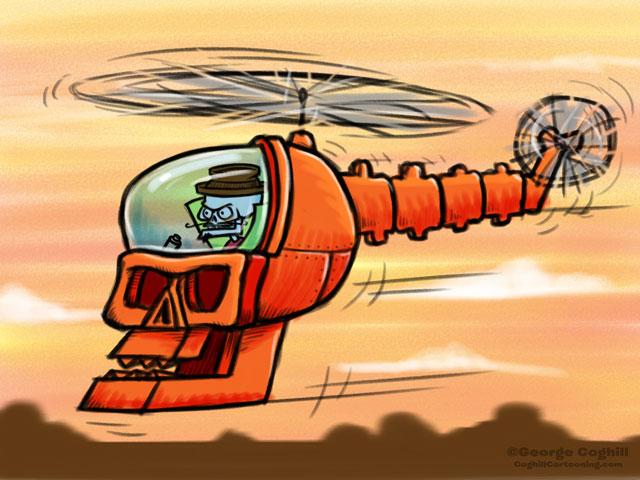 Evil Skeleton Skullcopter Cartoon Character Sketch