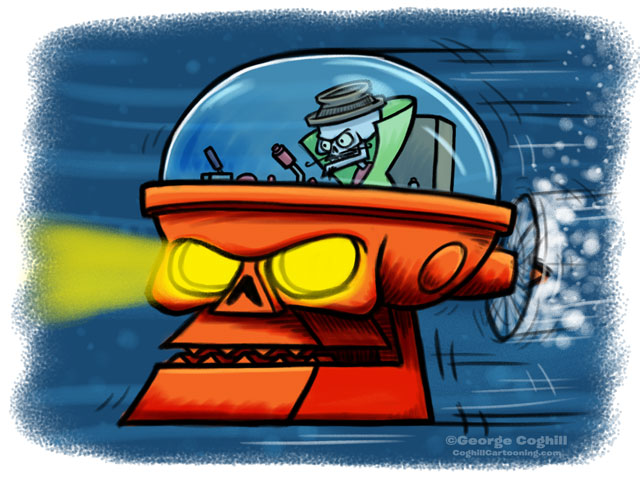Evil Skeleton Submarine Skull Cartoon Sketch