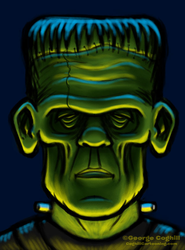 Frankenstein Monster Head Sketch 03