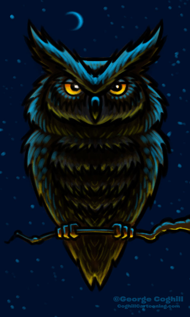 Owl in Moonlight on Branch Cartoon Character Sketch