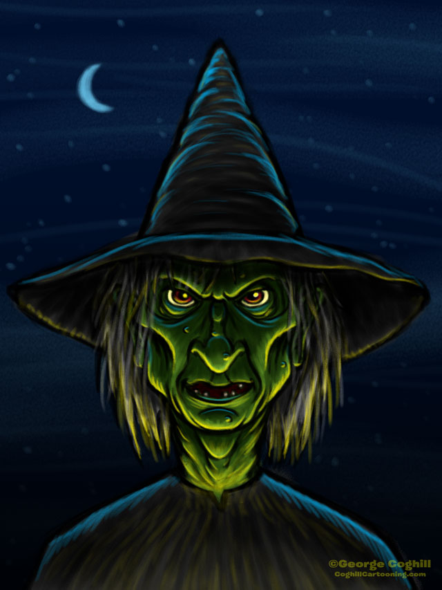 Witch Cartoon Character Sketch 01