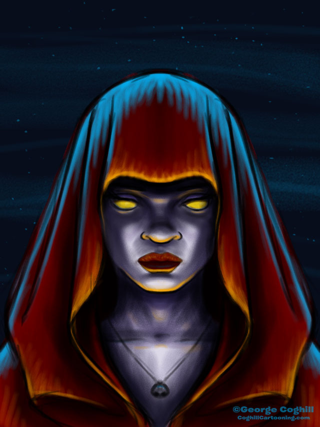 Cult Member Acolyte Woman cartoon character sketch