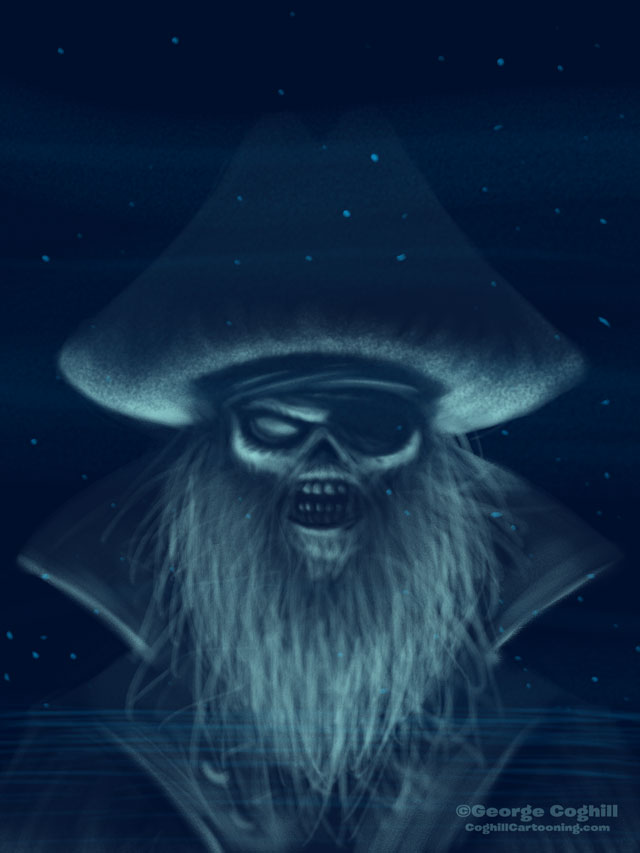 Ghost Pirate Cartoon Character Sketch