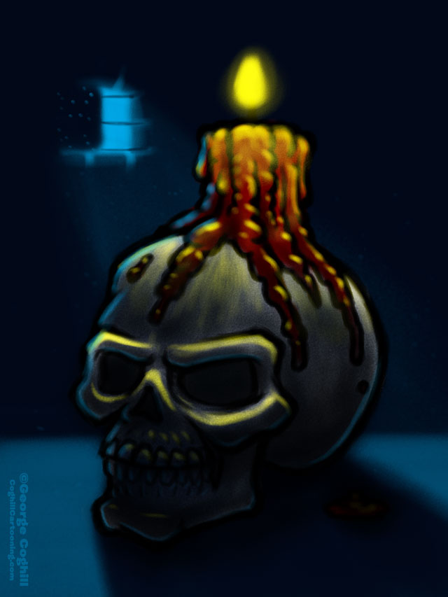 Skull & Candle Cartoon Sketch