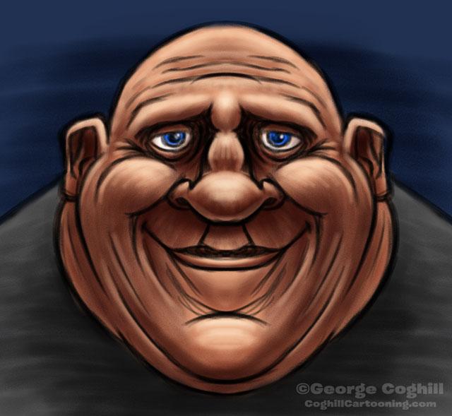Fat Man Cartoon Character Sketch