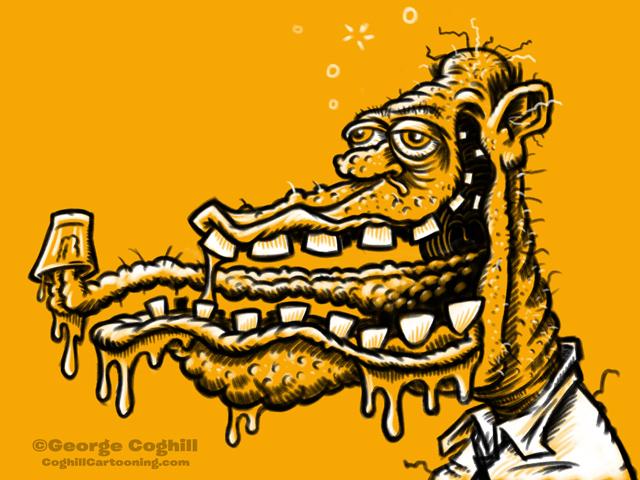 Monster Head Cartoon Drunk Limited Palette Sketch Coghill