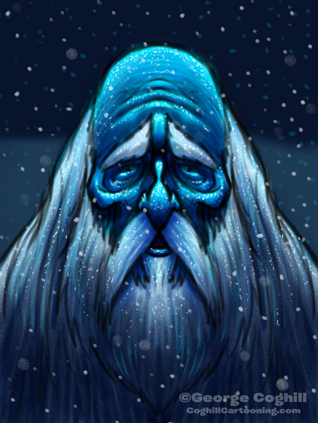 Old Man Winter Cartoon Character Sketch