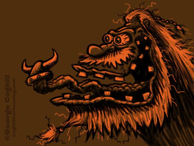 Monster Head Viking Cartoon Character Sketch Coghill