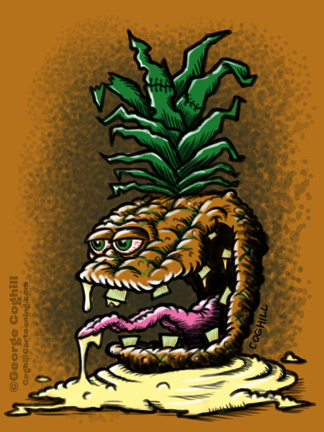 Pallid Pineapple Lowbrow Fruit Food Cartoon Character Sketch Coghill