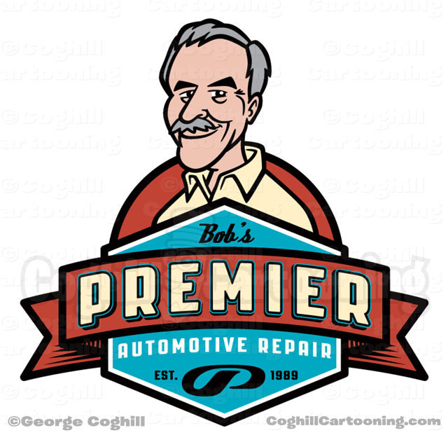 Bobs Premier Auto Retro Cartoon Logo Coghill