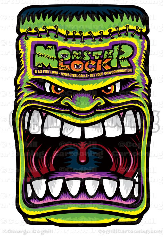 Monster Locks Bicycle Packaging Logo Cartoon Frankenstein Illustration Coghill