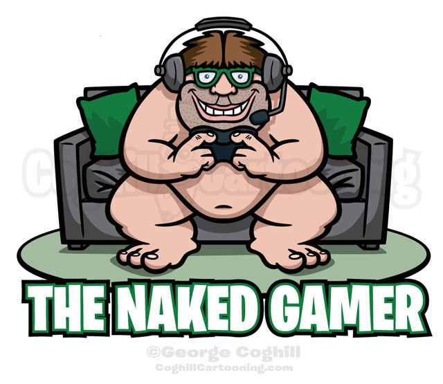 Naked Gamer Cartoon Logo Illustration Coghill
