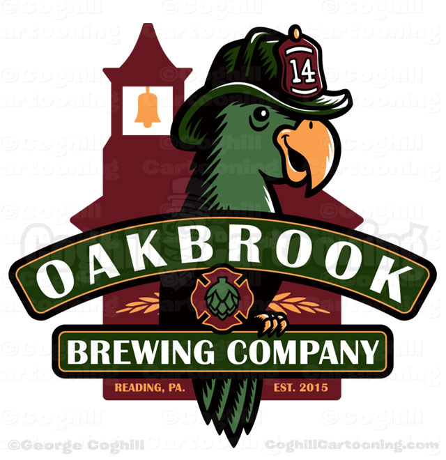 Oakbrook Brewing Company Firefighter Parrot Cartoon Logo Illustration Coghill