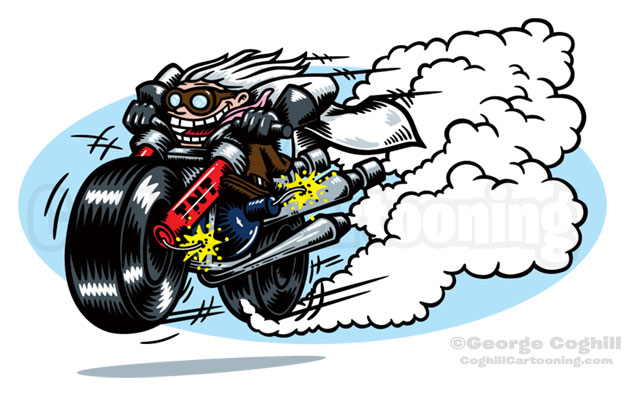 Suspect Device Mad Scientist Motorcycle Hot Rod Racer Cartoon Mascot Character Illustration Coghill