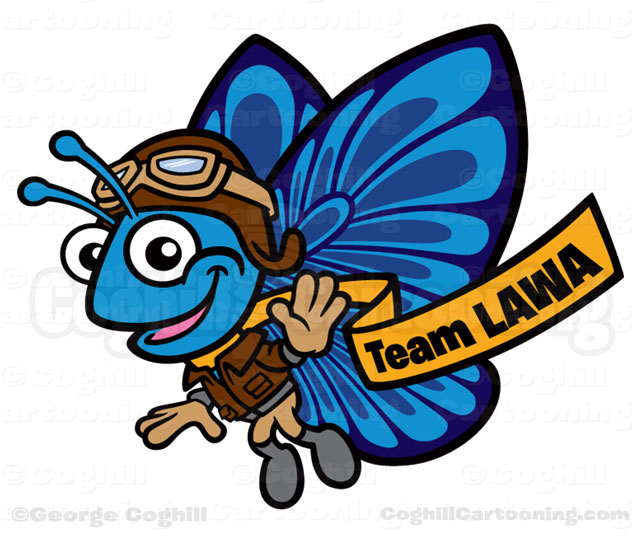 Team Lawa Aviator Butterfly Cartoon Mascot Character Illustration Coghill