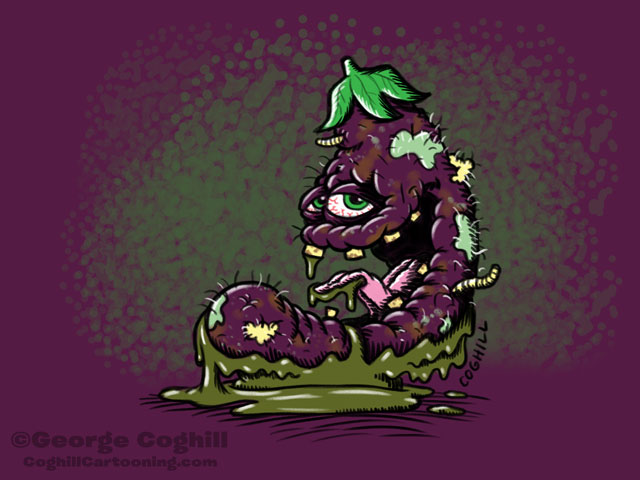 Expired Eggplant Food Vegetable Lowbrow Cartoon Character Sketch Coghill