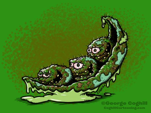 Pitiful Peas Food Vegetable Lowbrow Cartoon Character Sketch