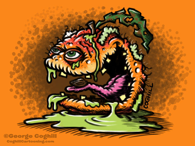 Sleazy Peach Cartoon Character Sketch Coghill