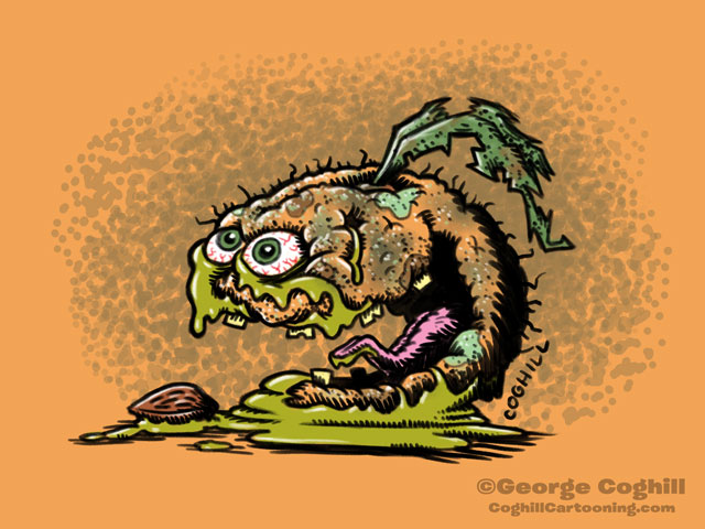 Abominable Apricot Food Fruit Lowbrow Cartoon Character Sketch