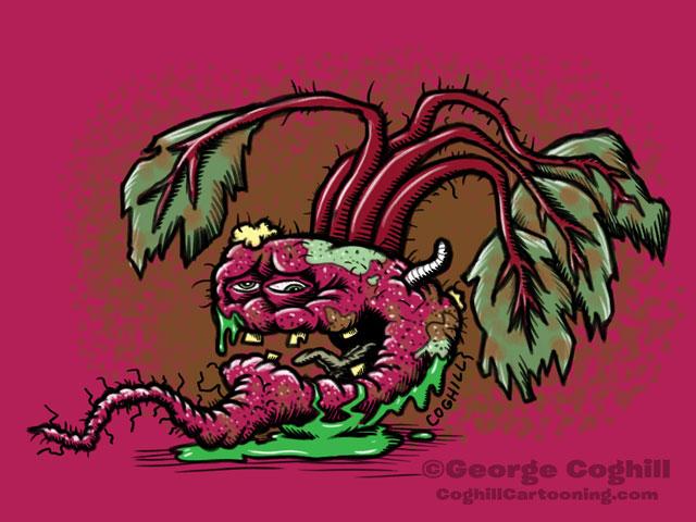 Bubonic Beet Food Vegetable Lowbrow Cartoon Character Sketch