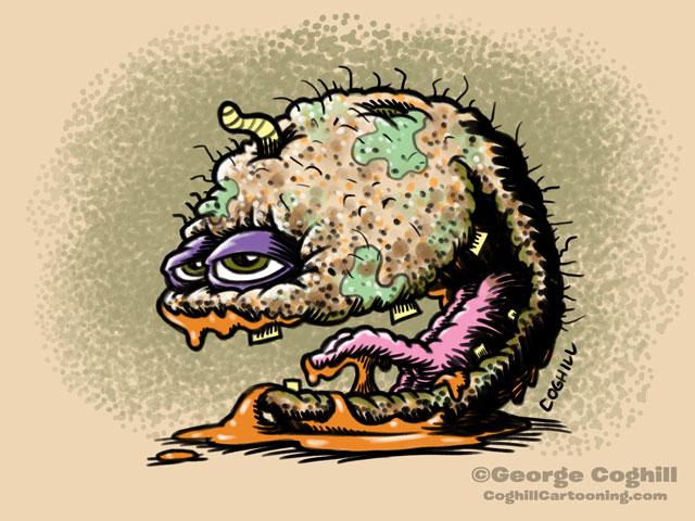 Catatonic Cantaloupe Food Fruit Lowbrow Cartoon Character Sketch