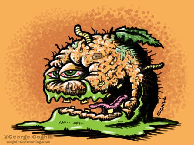 Grisly Grapefruit Food Fruit Lowbrow Cartoon Character Sketch