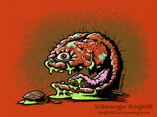 Nuked Nectarine Food Fruit Lowbrow Cartoon Character Sketch