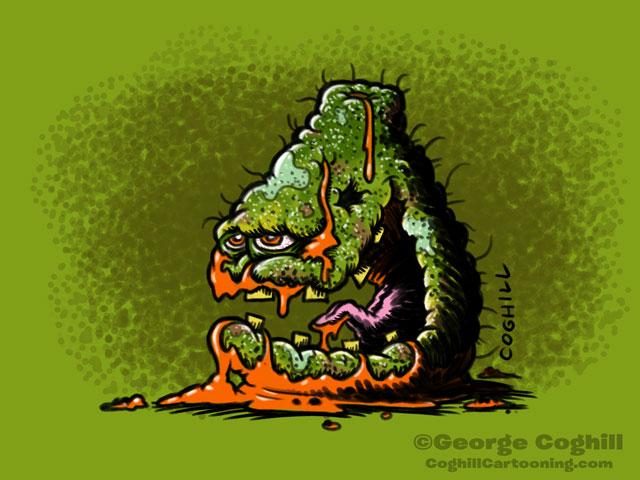 Pathetic Papaya Food Fruit Lowbrow Cartoon Character Sketch