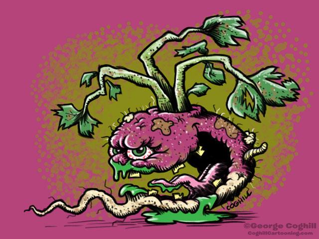 Trashed Turnip Food Vegetable Lowbrow Cartoon Character Sketch