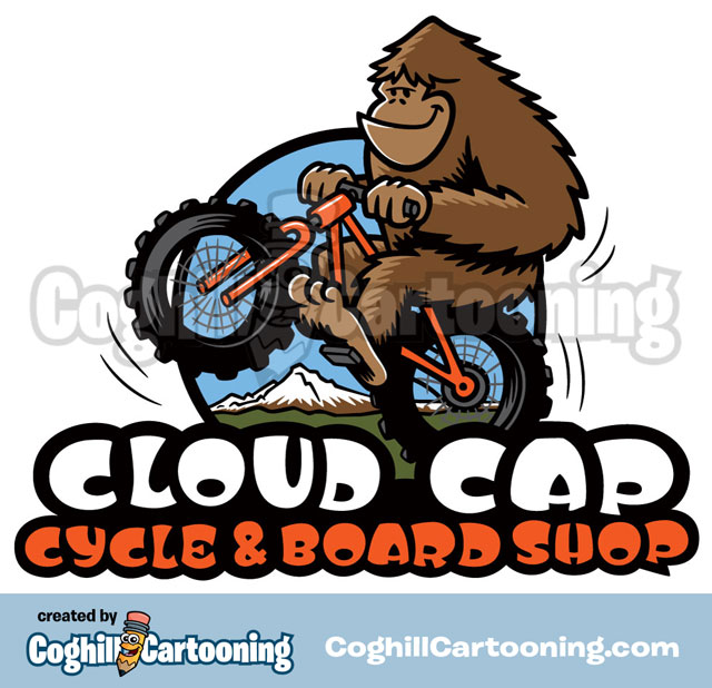 Sasquatch on Bicycle Cartoon Logo Cloud Cap Cycle & Board