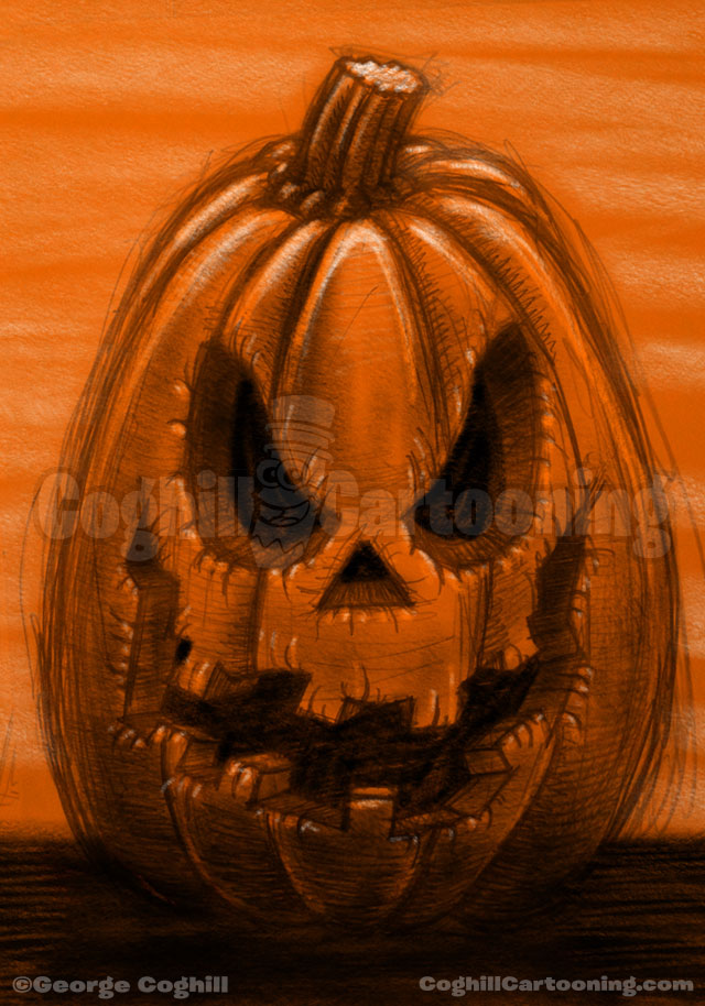 Pumpkin Drawing Halloween Limited Palette Orange Black Coghill