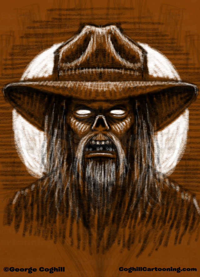 Zombie Cowboy Limited Palette Drawing Coghill